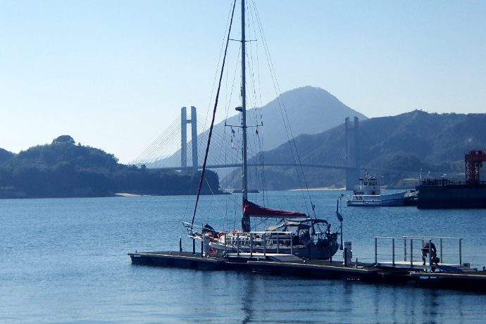 A photo of Silk Purse moored at one of the best Umi no Eki, at Yuge, Ehime, in the Seto Inland Sea