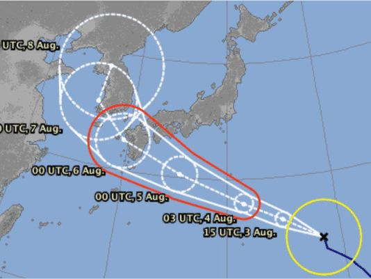 A map showing the typhoon progress