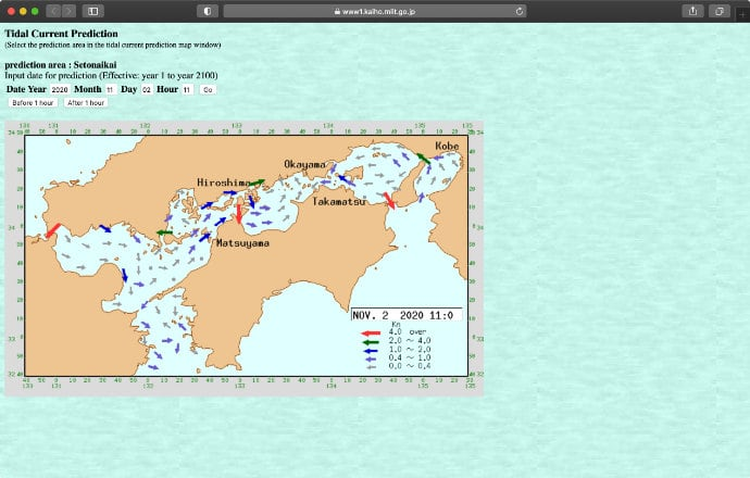 A screenshot of Tidal Current Prediction for Setonaikai on Tidal Stream Predictions website