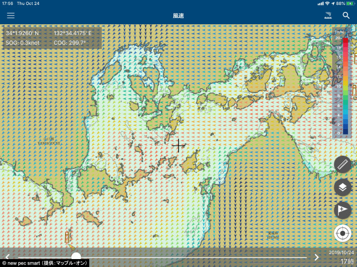 A screenshot of new pec smart showing the wind forecast for the central Seto Inland Sea